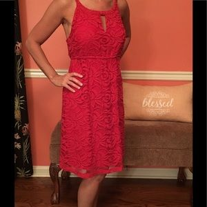 Ann Taylor loft red lace dress small 4-6